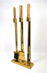 Mid Century Modern Fireplace Tools. Brass with Wood Ha