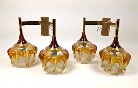 Pair Italian Wall Sconces with Murano Art Glass Shades.