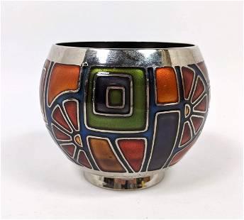 MIGUEL PINEDA Enameled Metal Modernist Bowl. Warm autu