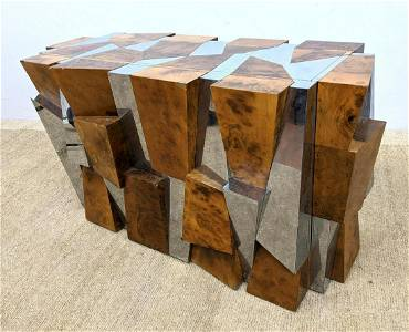 PAUL EVANS Faceted Cityscape Console.  Walnut Burl and