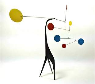 Painted Metal Table Top Mobile Sculpture. Kinetic sculp