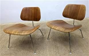 Pair Eames Herman Miller LCM Chairs. Walnut.