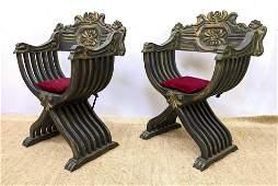 Pr Carved Wood Mediterranean Savonarola Chairs. Dark st