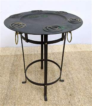 2 Part Metal Tray Table. Metal Stand Base with ring det
