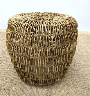 Woven Rattan Stool Side Table. Open weave. Wrapped Meta