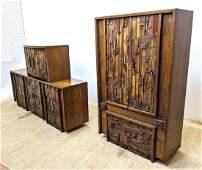 3pc LANE American Modern Dresser Bedroom Set. Paul Evan