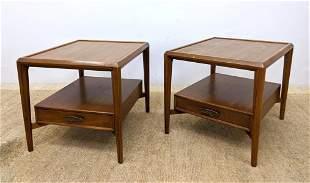 Pr HERITAGE American Modern Walnut Side Tables. Lower d