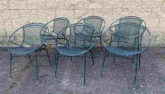 Set 6 SALTERINI Outdoor Iron Hoop Chairs. iron rod leg