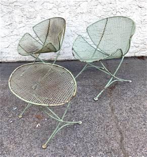 Set 3 SALTERINI Outdoor Iron Orange Slice Chairs, Table