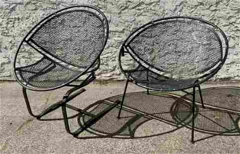 2pc SALTERINI Outdoor Iron Hoop Chairs. One with bounc