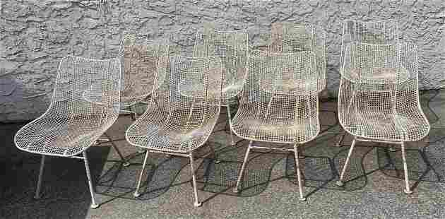 Set 8 RUSSELL WOODARD Iron Mesh Patio Chairs. Mesh form