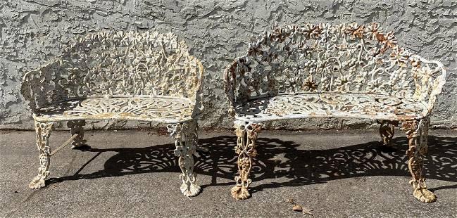 2pc Cast Iron Floral Outdoor Garden Love Seats. Benches