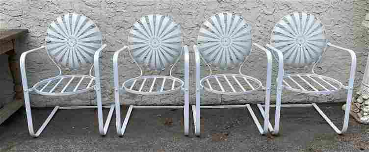 Set 4 French Francois Carre style Sunburst Arm Chairs.