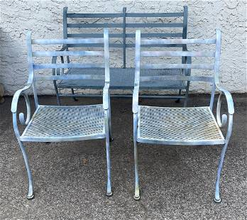 3pc Iron Patio Garden Seating. Love Seat. Two Chairs. D