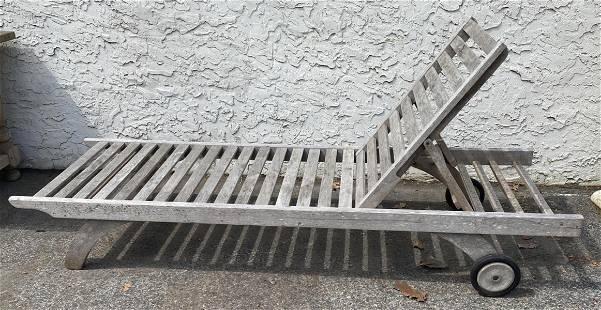 Slat Teak Modernist Adjustable Chaise Lounge. Outdoor.