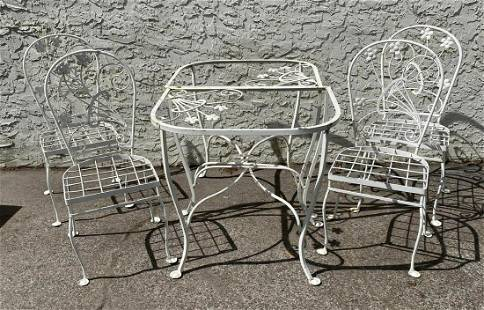 6pc Outdoor Iron Patio Dining Set. 4 Dining Chairs. Two