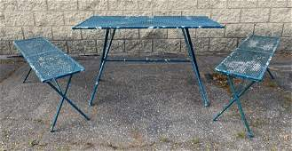 Outdoor Garden Patio set. Table and 2 Benches. Mesh d