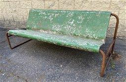Rare WILLY GUHL Long Bench with Iron Frame. Garden Benc