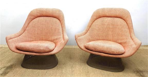 Pair WARREN PLATNER Large Lounge Chairs.