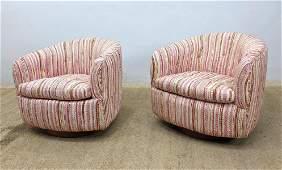 Pair Milo BAUGHMAN Swivel Lounge Chairs. THAYER COGGIN