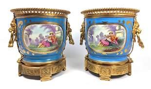 Pr SEVRES French Porcelain Bronze Mount Cachepots. Blue