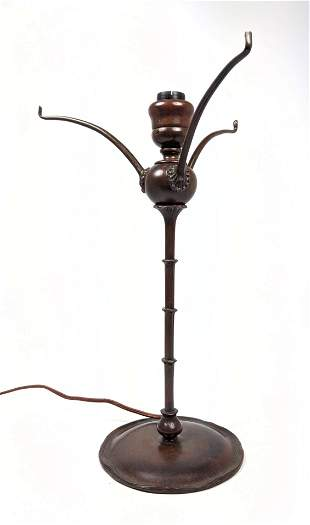 TIFFANY STUDIOS Bronze Table Lamp Base. Marked 25867. B