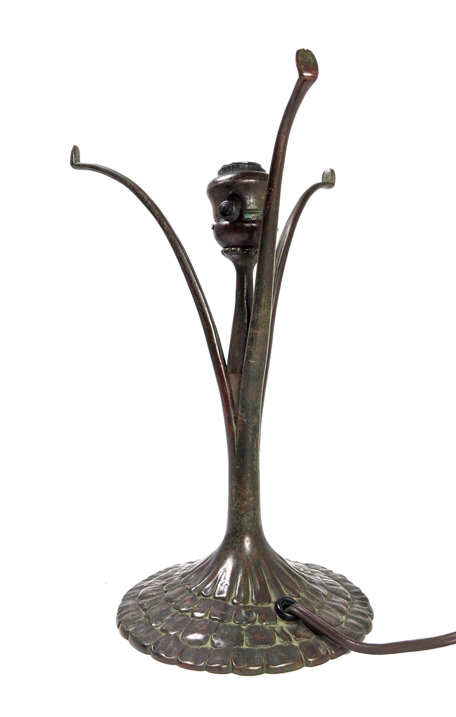 TIFFANY STUDIOS 445 Bronze Vintage Lamp Base. Three Cur