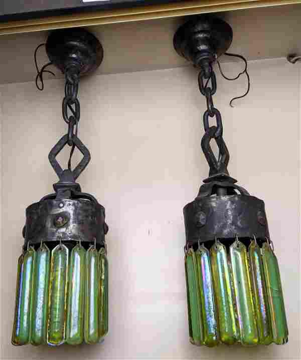 Pair LCT Tiffany Art Glass Hanging Pendant Lamp Chandel