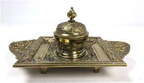 Fancy Brass Footed Inkwell. Single inkwell with hinged