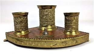 Vintage Brass & Wood Item. Three tooled brass cups mou