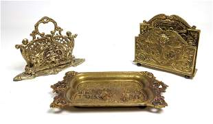 3pcs Vintage Brass Desk Accessories. Two Letter Holders