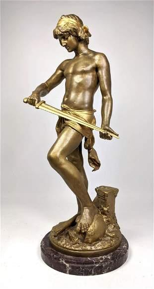 A GAUDEZ Gilt Bronze Figural Sculpture of David. David