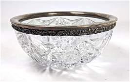 Sterling Silver Rimmed Elegant Cut Crystal Bowl.