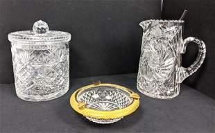 3pc Fancy Cut Crystal Pieces. Lidded Jam Jar. Pitcher.