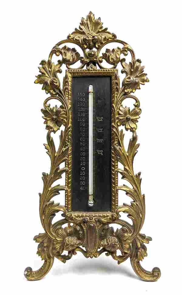 Ornate Brass Vintage Standing Thermometer. Foliate Flor