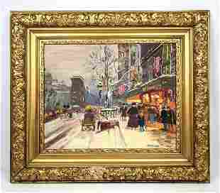 M. BURROUGHS Oil Painting French Street Scene.