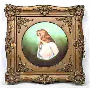 LIMOGES France Painted Porcelain Plaque. Artist Signed.