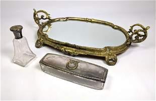 3pc Vanity Dresser Top Items. Brass Framed Mirror Vanit