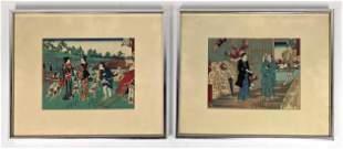2pc Japanese Woodblock Prints. Both published by Tsuta