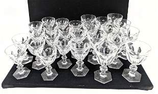 26pc BACCARAT France Crystal Stemware. Hexagon bases an