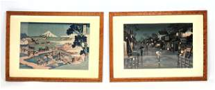 2pc Japanese Woodblock Prints. 1). Farming Landscape S