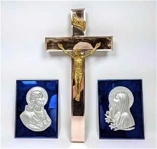3pc Vintage Mirrored Religious Pieces. Pr Cobalt Mirror