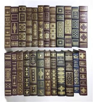 Set 24 Franklin Library Leather Bound Books. Gold Leaf