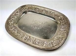 J E CALDWELL Sterling Tray with Floral Band. 25.21 OZT