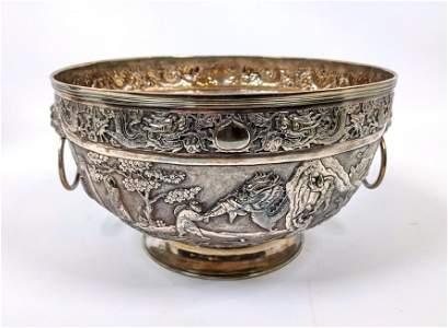 Large WANG HING Chinese Export Sterling Bowl.  Silver b
