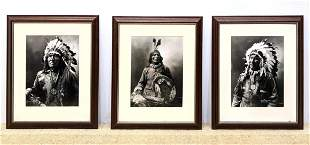 3pc J.A. ANDERSON c. 1900 Photographs. Native American