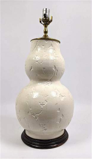 Glazed Pottery Table Lamp. Textured.