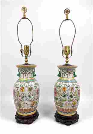 Pr Chinese Paint Decorated Ceramic Table Lamps. Flared