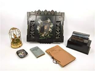 Mixed Victorian Lot. Wall Magazine Rack, Bird music box