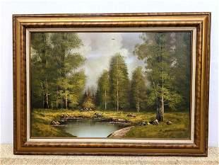 B. WILCOX Oil Painting on Canvas. Woodland scene.